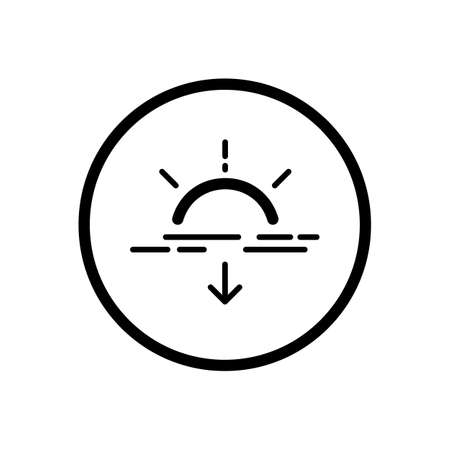 Sunset. Weather outline icon in a circle. Isolated vector illustration