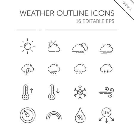 Weather and meteorology thin line icon set. Sun, clouds, temperature and pressure. Isolated group. Outline vector illustration