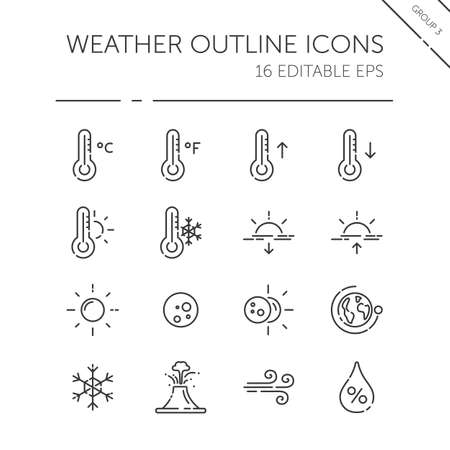 Weather and meteorology thin line icon set. Temperature, humidity and natural phenomenon. Isolated group. Outline vector illustration