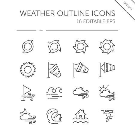 Weather and meteorology thin line icon set. Wind, sea and natural disasters. Isolated group. Outline vector illustration 矢量图像