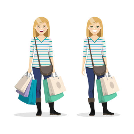 Blonde hair woman with shopping bags in two different positions. Isolated people vector illustration