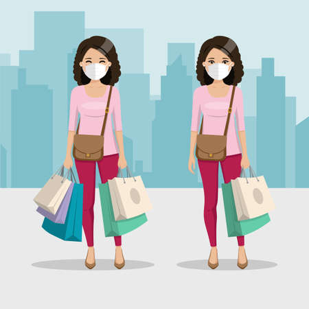 Brown and curly hair woman with many shopping bags and mask in two different positions with city background. People vector illustration