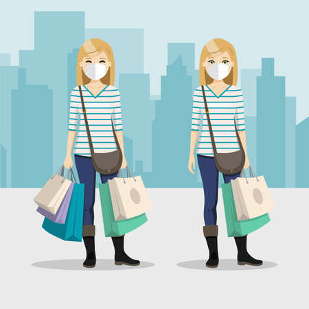 Blonde hair woman with shopping bags and mask in two different positions with city background. People vector illustration 矢量图像