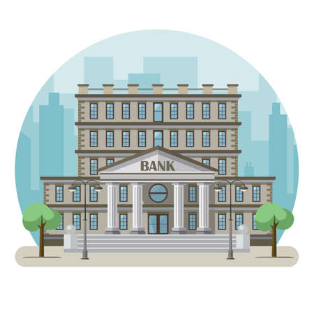 Bank building in a big city. Flat design. Vector illustration
