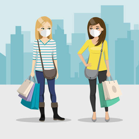 Friends shopping together with mask on a city background. Two happy women in the street. People vector illustration 矢量图像