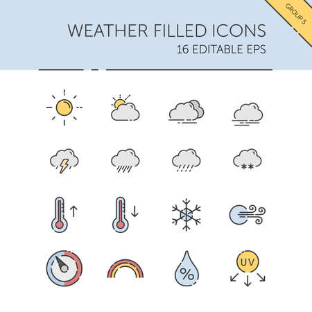 Weather and meteorology. Sun, clouds, temperature and pressure group. Isolated color icon set. Filled vector illustration 矢量图像