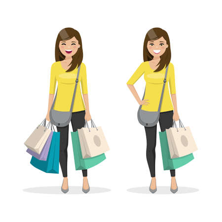 Brown and straight hair woman with shopping bags in two different positions. Isolated people vector illustration
