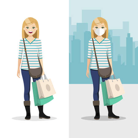 Blonde hair woman with two shopping bags with mask and without mask. People vector illustration