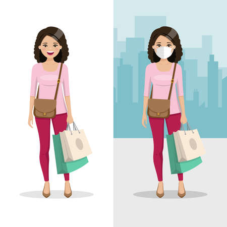 Brown and curly hair woman with two shopping bags with mask and without mask. People vector illustration 矢量图像