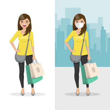 Brown and straight hair woman with two shopping bags with mask and without mask. People vector illustration