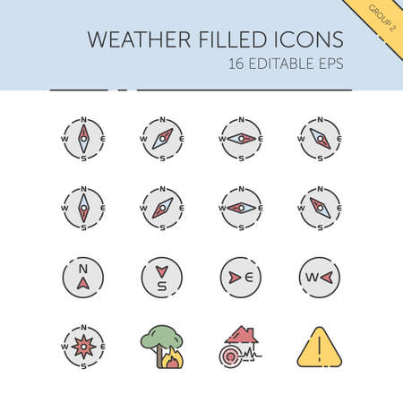 Weather and meteorology. Compass and natural disasters group. Isolated color icon set. Filled vector illustration 矢量图像