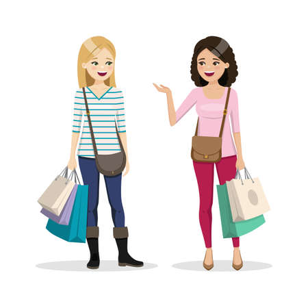Friends shopping day. Two happy women. Isolated people vector illustration