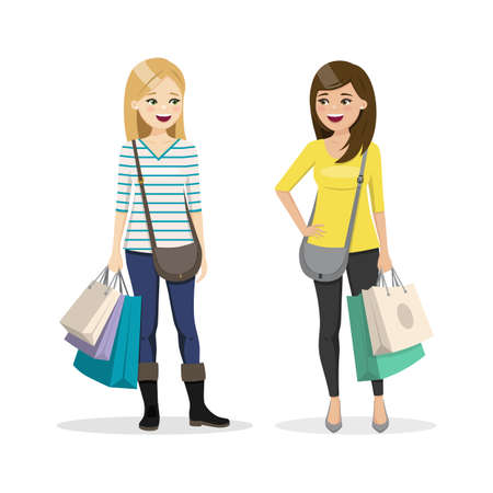 Friends shopping together. Two happy women. Isolated people vector illustration 矢量图像