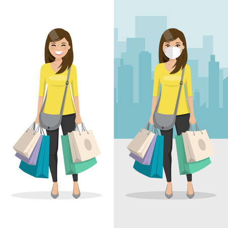 Brown and straight hair woman with many shopping bags with mask and without mask. People vector illustration
