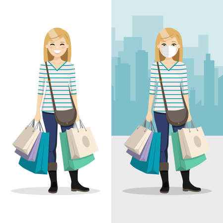 Blonde hair woman with many shopping bags with mask and without mask. People vector illustration 矢量图像