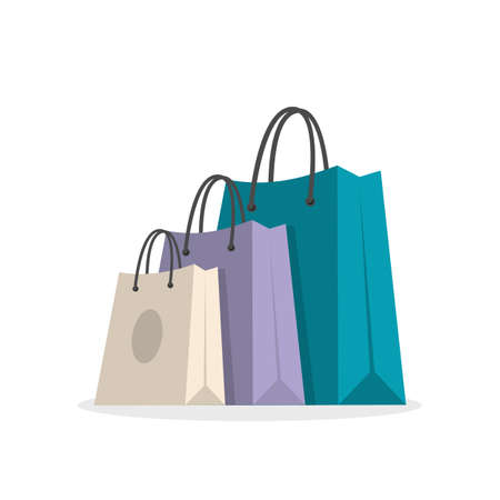 Three shopping bags. Beige, violet and blue. Isolated objects vector illustration