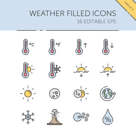 Weather and meteorology. Temperature, humidity and natural phenomenon group. Isolated color icon set. Filled vector illustration