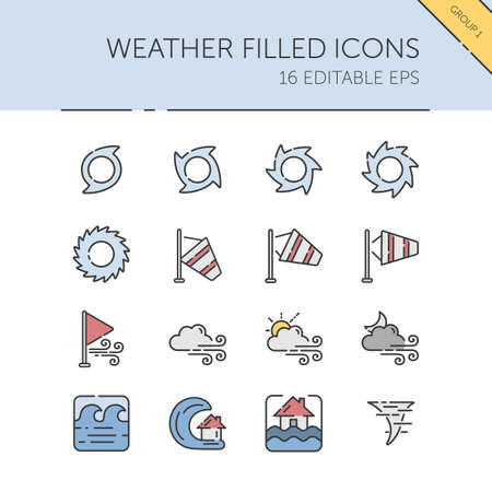 Weather and meteorology. Wind group. Isolated color icon set. Filled vector illustration