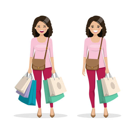 Brown and curly hair woman with shopping bags in two different positions. Isolated people vector illustration