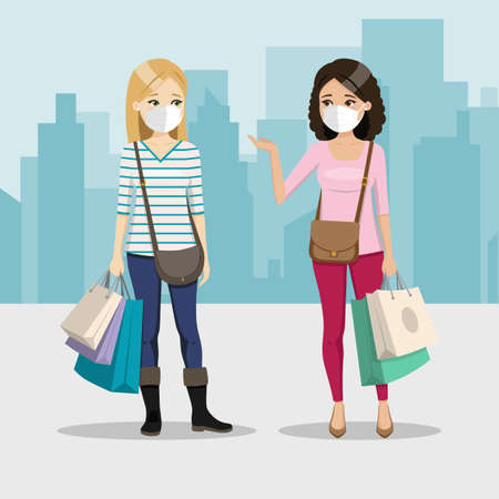 Friends shopping day with mask on a city background. Two happy women in the street. People vector illustration