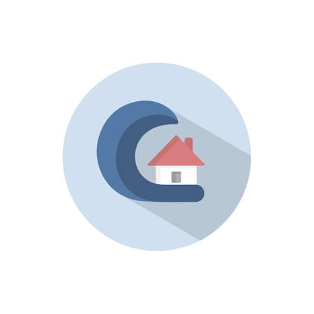 Tsunami. Flat color icon on a circle. Weather vector illustration