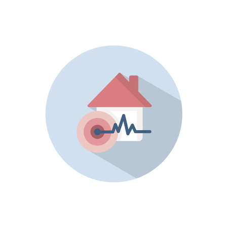Earthquake. Flat color icon on a circle. Weather vector illustration