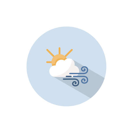 Strong wind, sun and cloud. Flat color icon on a circle. Weather vector illustration