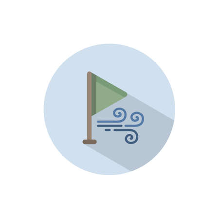 Wind direction and green flag. Flat color icon on a circle. Weather vector illustration