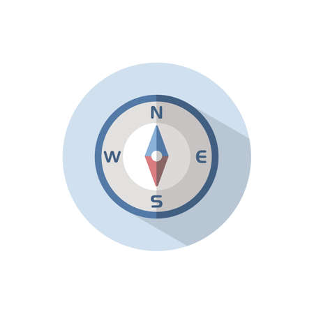 Compass south direction. Flat color icon on a circle. Weather vector illustration
