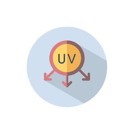 Ultraviolet rays sun. Flat color icon on a circle. Weather vector illustration