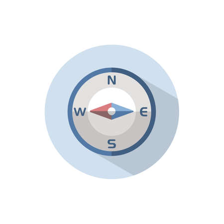 Compass west direction. Flat color icon on a circle. Weather vector illustration