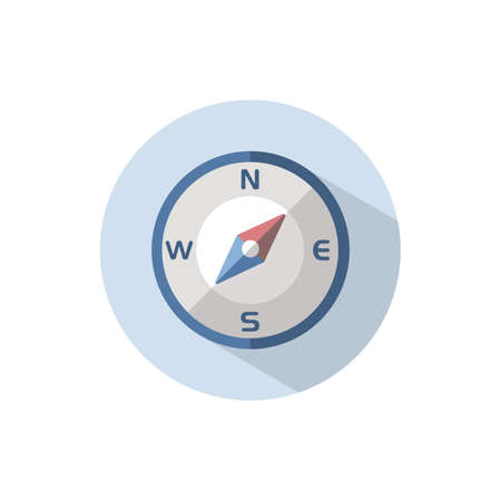 Compass north east direction. Flat color icon on a circle. Weather vector illustration