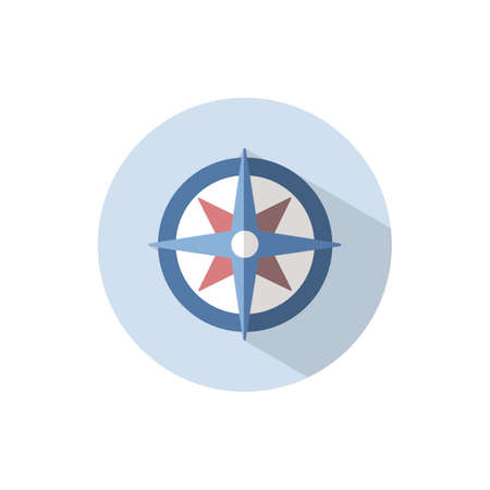 Wind rose sign. Flat color icon on a circle. Weather vector illustration