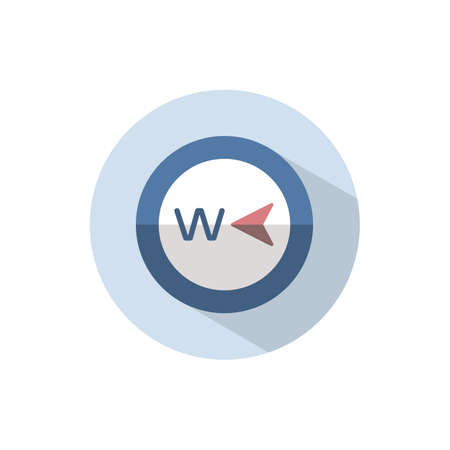 West direction. Flat color icon on a circle. Weather vector illustration