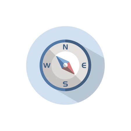 Compass south east direction. Flat color icon on a circle. Weather vector illustration 矢量图像