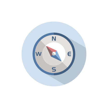 Compass north west direction. Flat color icon on a circle. Weather vector illustration