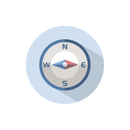 Compass east direction. Flat color icon on a circle. Weather vector illustration