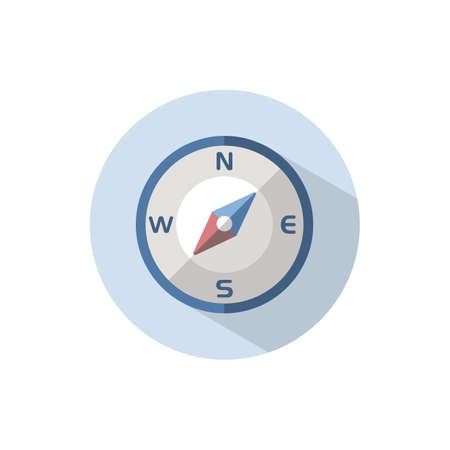 Compass south west direction. Flat color icon on a circle. Weather vector illustration 矢量图像