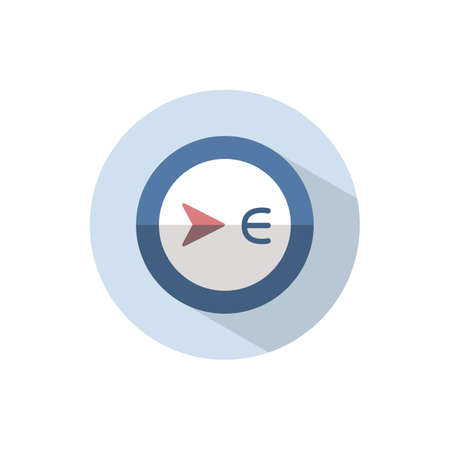 East direction. Flat color icon on a circle. Weather vector illustration 矢量图像