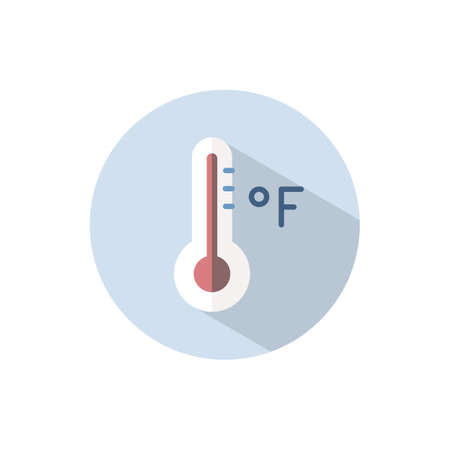 Fahrenheit thermometer. Flat color icon on a circle. Weather vector illustration