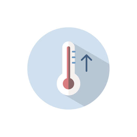 Thermometer. Rise temperature. Flat color icon on a circle. Weather vector illustration