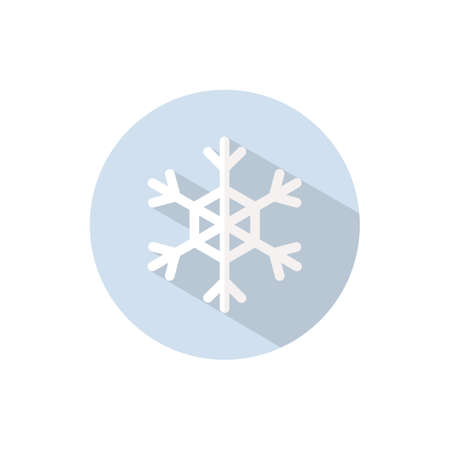 Snowflake. Flat color icon on a circle. Weather vector illustration 矢量图像