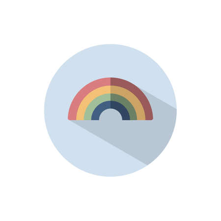 Rainbow. Flat color icon on a circle. Weather vector illustration