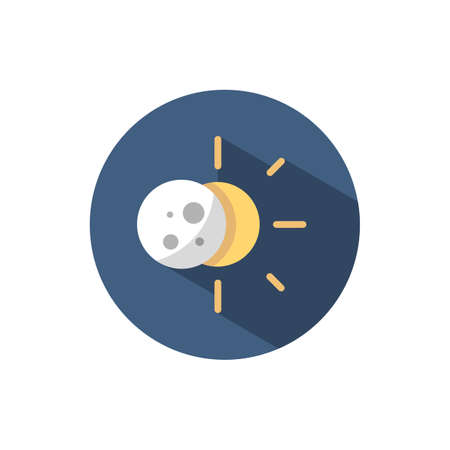 Sun eclipse. Flat color icon on a circle. Weather vector illustration