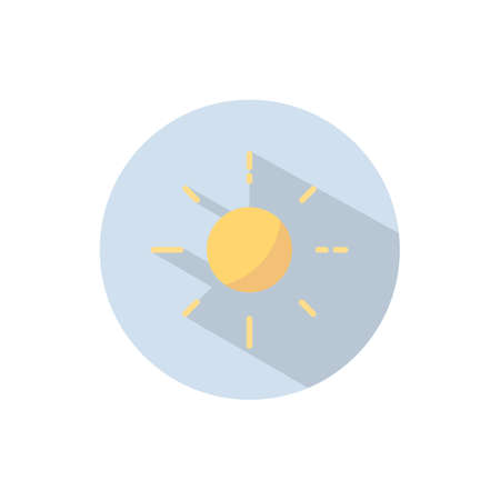 Shining sun. Flat color icon on a circle. Weather vector illustration