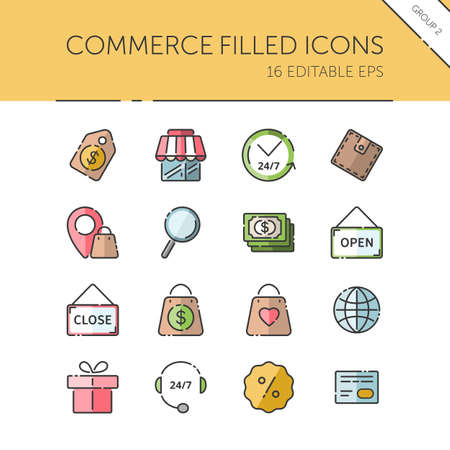 Commerce. Store, tag, wallet, pay, label, money, location and call center group. Isolated color icon set. Filled vector illustration