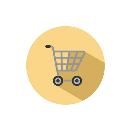 Empty shopping cart. Flat color icon in a circle. Commerce vector illustration