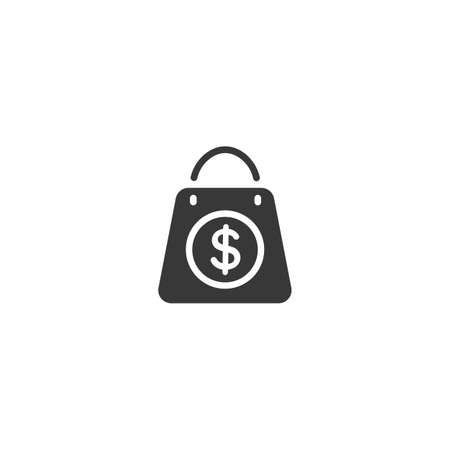 Shopping bag on white background. Dollar sign. Isolated icon. Commerce glyph vector illustration