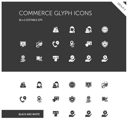 Commerce. People, cashier machine, phone, security, ticket, money and hands group. Isolated icon set on black and white background. Glyph vector illustration