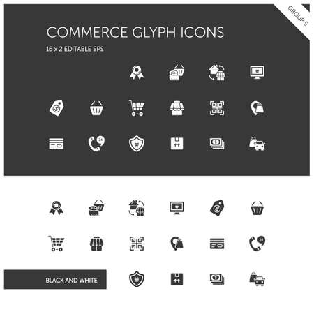 Commerce. Store, tag, security, discount and credit card group. Isolated icon set on black and white background. Glyph vector illustration Illustration